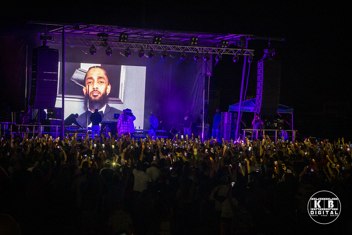 Snoop Dogg pays tribute to Nipsey Hussle in Rockford, Illinois.