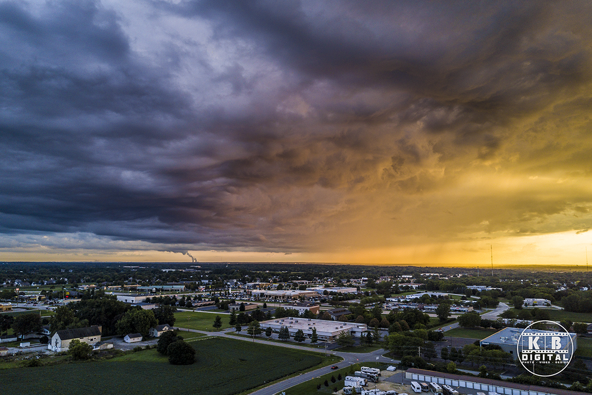 Aerial drone shot of colorful clouds over Rockford, IL.