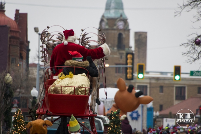 Santa on State Street in downtown Rockford, Illinois.