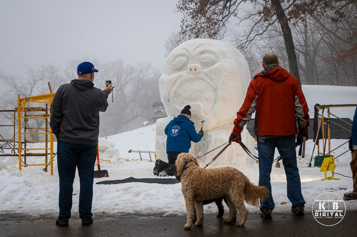 Snow sculpting competition 2020 begins in Rockford, Illinois.
