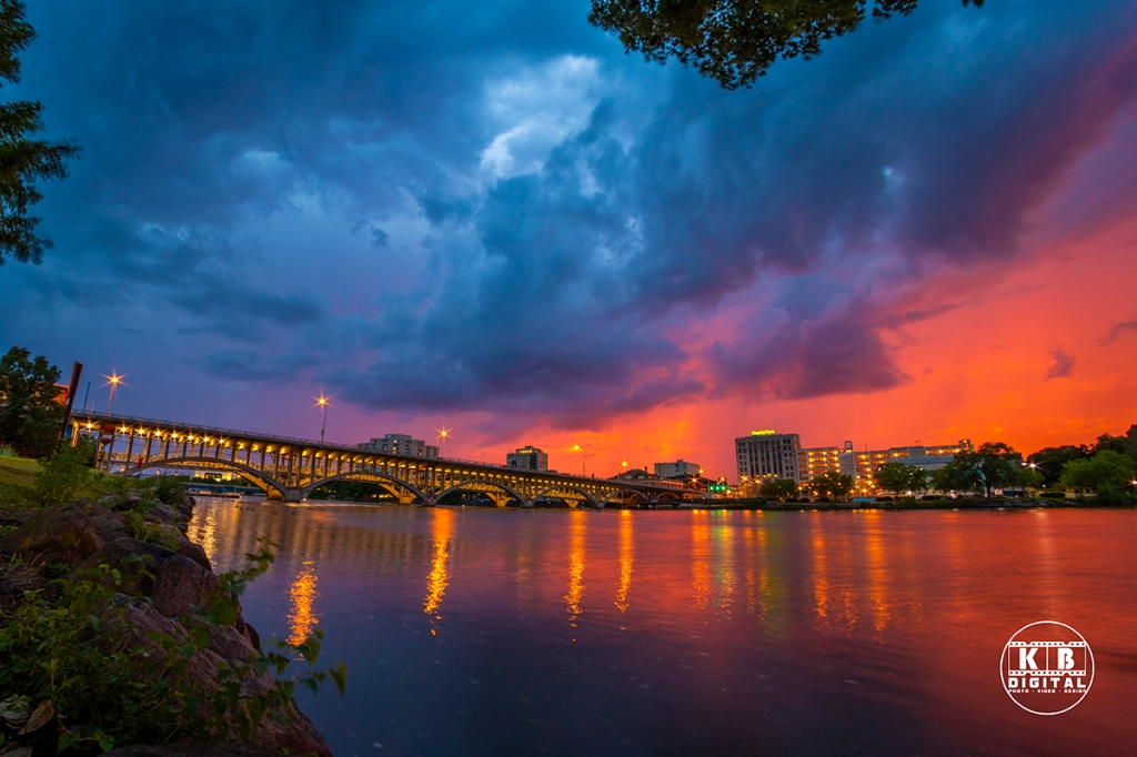 KB Digital captures amazing thunderstorm sunset over Rockford, Illinois.